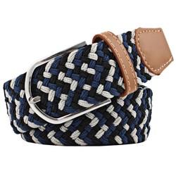 Fako Fashion® - Elastische Riem - Canvas - Gevlochten - 105cm - Blauw/Grijs/Zwart