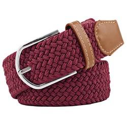 Fako Fashion® - Elastische Riem - Canvas - Gevlochten - 105cm - Bordeaux Rood