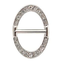 Fako Bijoux® - Sjaalklem - Ovaal - Kristal - 25x36mm - Zilverkleurig