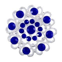 Fako Bijoux® - Broche - Bloem Kristal - 32x32mm - Donkerblauw