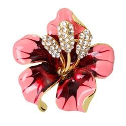 Fako Bijoux® - Broche - Orchidee - 47x50mm - Roze/Rood