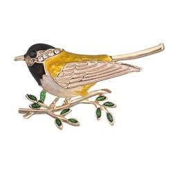 Fako Bijoux® - Broche - Vogel - Vogel Op Tak - 45x26mm - Geel