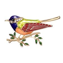 Fako Bijoux® - Broche - Vogel - Vogel Op Tak - 45x26mm - Groen