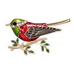 Fako Bijoux® - Broche - Vogel - Vogel Op Tak - 45x26mm - Rood