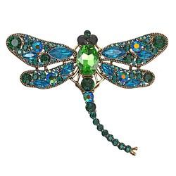 Fako Bijoux® - Broche - Libelle - XXL - 67x94mm - Groen/Blauw