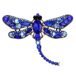 Fako Bijoux® - Broche - Libelle - XXL - 67x94mm - Blauw