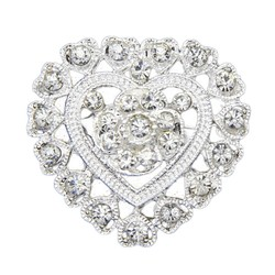 Fako Bijoux® - Broche - Hart - Kristal - 32x32mm - Zilverkleurig