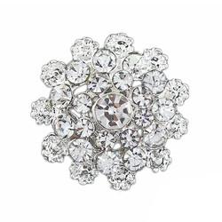 Fako Bijoux® - Broche - Bloem Mini - Kristal - 24x24mm - Zilverkleurig