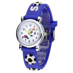 Fako® - Kinderhorloge - 3D - Voetbal - Donkerblauw