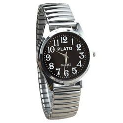 Fako® - Horloge - Rekband - Plato - Ø 32mm - Zilverkleurig - Zwart