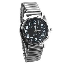 Fako® - Horloge - Rekband - Plato - Ø 37mm - Zilverkleurig - Zwart