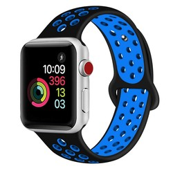 Fako® - Siliconen Band Voor Apple Watch - Series 1/2/3/4 - 42-44mm - Zwart/Blauw