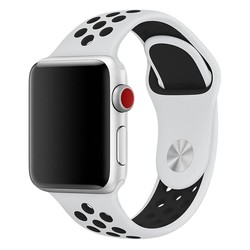 Fako® - Siliconen Band Voor Apple Watch - Series 1/2/3/4 - 38-40mm - Wit/Zwart