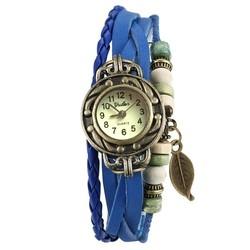 Fako® - Armband Horloge - Blad - Blauw