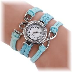 Fako® - Armband Horloge - Multi Infinity Love - Lichtblauw