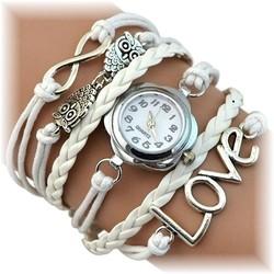 Fako® - Armband Horloge - Multi Infinity Uiltjes Love - Wit