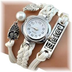 Fako® - Armband Horloge - Multi Uiltjes Sister - Wit