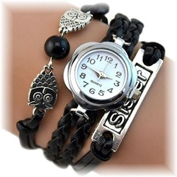 Fako® - Armband Horloge - Multi Uiltjes Sister - Zwart