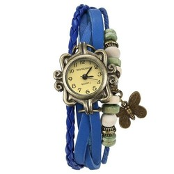 Fako® - Armband Horloge - Vlinder - Blauw
