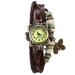 Fako® - Armband Horloge - Vlinder - Bruin