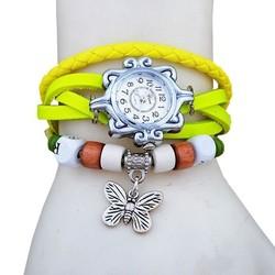 Fako® - Armband Horloge - Vlinder - Fluor Geel