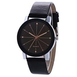 Fako® - Horloge - Black Quartz - 40mm - Rosegoud & Zwart