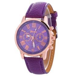 Fako® - Horloge - Geneva - Roman - Metal - Paars