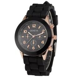 Fako® - Horloge - Geneva - Siliconen Candy - Zwart