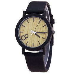 Fako® - Horloge - Houtlook - Zwart