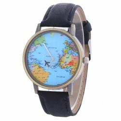Fako® - Horloge - Mini World - Zwart