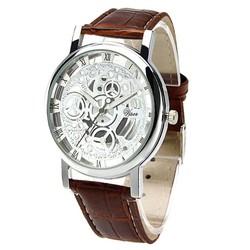 Fako® - Horloge - Open Uurwerk - Zilverkleurig - Bruin