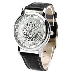 Fako® - Horloge - Open Uurwerk - Zilverkleurig - Zwart