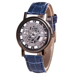 Fako® - Horloge - Open Uurwerk - Zwart - Blauw