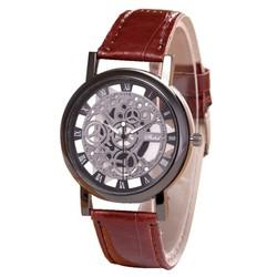 Fako® - Horloge - Open Uurwerk - Zwart - Bruin