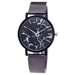 Fako® - Horloge - Mesh - Marmer - Ø 38mm - Grijs/Zwart