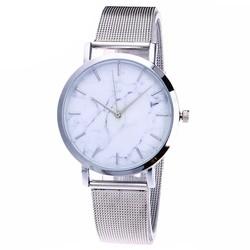 Fako® - Horloge - Mesh - Marmer - Ø 38mm - Zilverkleurig