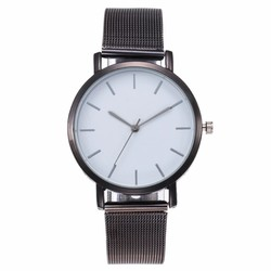 Fako® - Horloge - Mesh - Vintage - Staal - Ø 40mm - Zwart/Wit