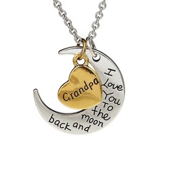 Fako Bijoux® - Ketting - Grandpa, I Love You To The Moon And Back