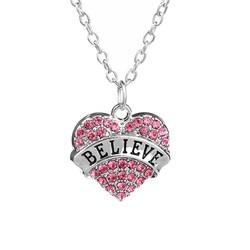 Fako Bijoux® - Ketting - Hart - Kristal - Believe - Roze