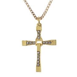 Fako Bijoux® - Ketting - Kruis - Kristal - Classic - Goudkleurig