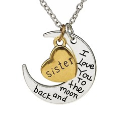 Fako Bijoux® - Ketting - Sister, I Love You To The Moon And Back