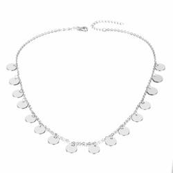 Fako Bijoux® - Ketting - Choker - Muntjes - 38cm - Zilverkleurig