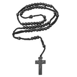Fako Bijoux® - Ketting - Rozenkrans - Hout - Zwart