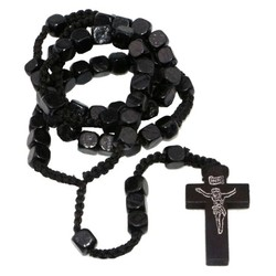 Fako Bijoux® - Rozenkrans Ketting Hout - Vierkant - Zwart