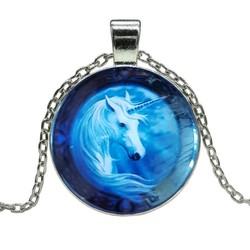 Fako Bijoux® - Ketting - Cabochon - Eenhoorn - Blauw