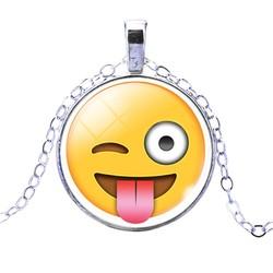Fako Bijoux® - Ketting - Cabochon - Emoji - Crazy