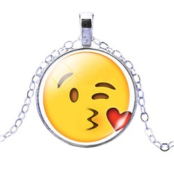 Fako Bijoux® - Ketting - Cabochon - Emoji - Hart Kus