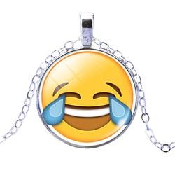 Fako Bijoux® - Ketting - Cabochon - Emoji - Vreugdetranen