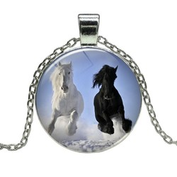 Fako Bijoux® - Ketting - Cabochon - Paard - Zwart & Wit