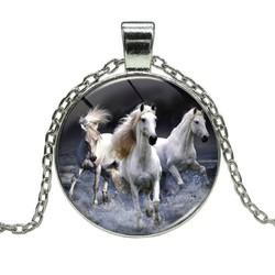 Fako Bijoux® - Ketting - Cabochon - Paarden - Wit